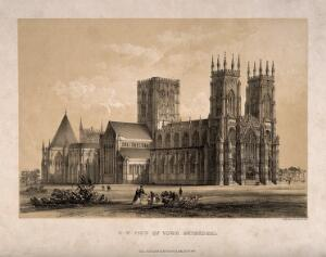 view York Minster: north-west view. Tinted lithograph by W. Monkhouse, 1848.