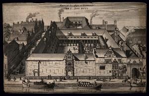 view Psychiatric hospital (Het dol huys), Amsterdam, Netherlands. Etching, 17th century.