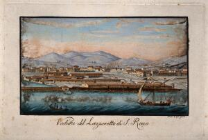 view The lazaretto at Livorno, Tuscany, Italy: panoramic view. Coloured etching by P. Lapi.