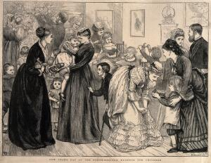 view Mothers and nurses play with sick children on New Years Day. Wood engraving by H. Harral after M.E. Edwards.