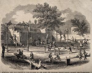 view Playground of the Home and Colonial Infant School Society, London. Wood engraving, c. 1840.