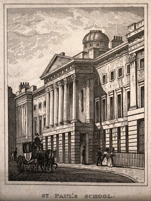 view St Paul's School, London, England. Etching (on left).