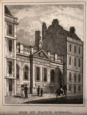 view Old St Paul's School, London, England. Etching (on right).