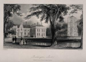 view Lambeth Female Orphan Asylum (formerly Beddington Park): view of the grounds. Etching by Flemming after T. Allom.