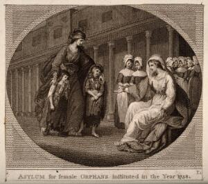 view Two children are brought to the nurses of the Asylum for Female Orphans, Lambeth, London. Etching.