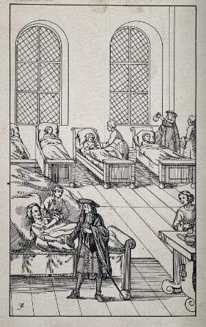 view A physician checks the pulse of a patient in a hospital. Pen drawing by A.J.E. Terzi.