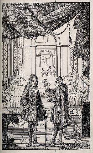 view A physician holds up a glass of urine in a hospital. Pen drawing by A.J.E. Terzi.