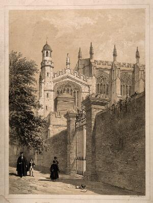view Scholars pass a church, Oxford. Tinted lithograph.