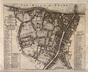 view Southwark, London: map of the borough with key. Etching, 1755.