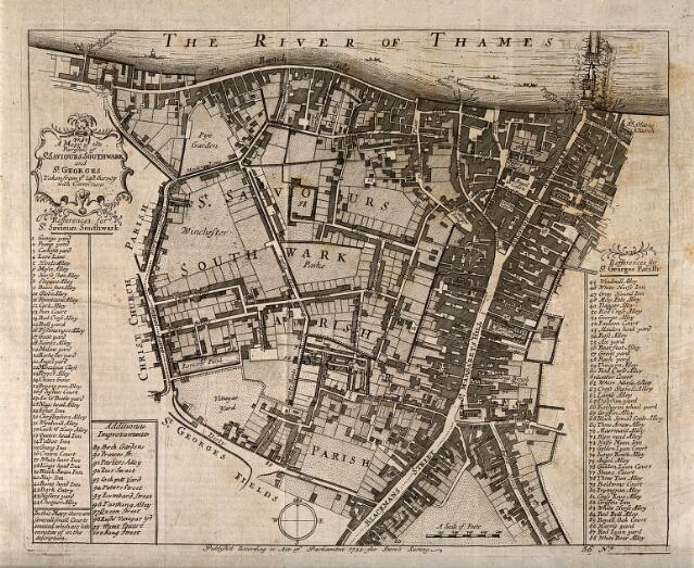 Southwark, London: map of the borough with key. Etching, 1755 ... on map of canaan, map of kish, map of napata, map of uruk, map of sumer, map of akkad, map of bethel, map of harran, map of memphis, map of assyria, map of ra, map of babylon, map of baghdad, map of thebes, map of re, map of nineveh, map of uz, biblical map ur, map of mesopotamia, map of gl,