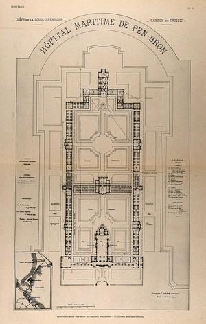 view Sanatorium de Pen-Bron, Loire-Atlantique: general plan. Process print, 1913, after a drawing, 1896.