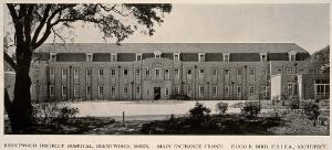 view Brentwood District Hospital, Essex: the entrance facade. Process print, 1929.