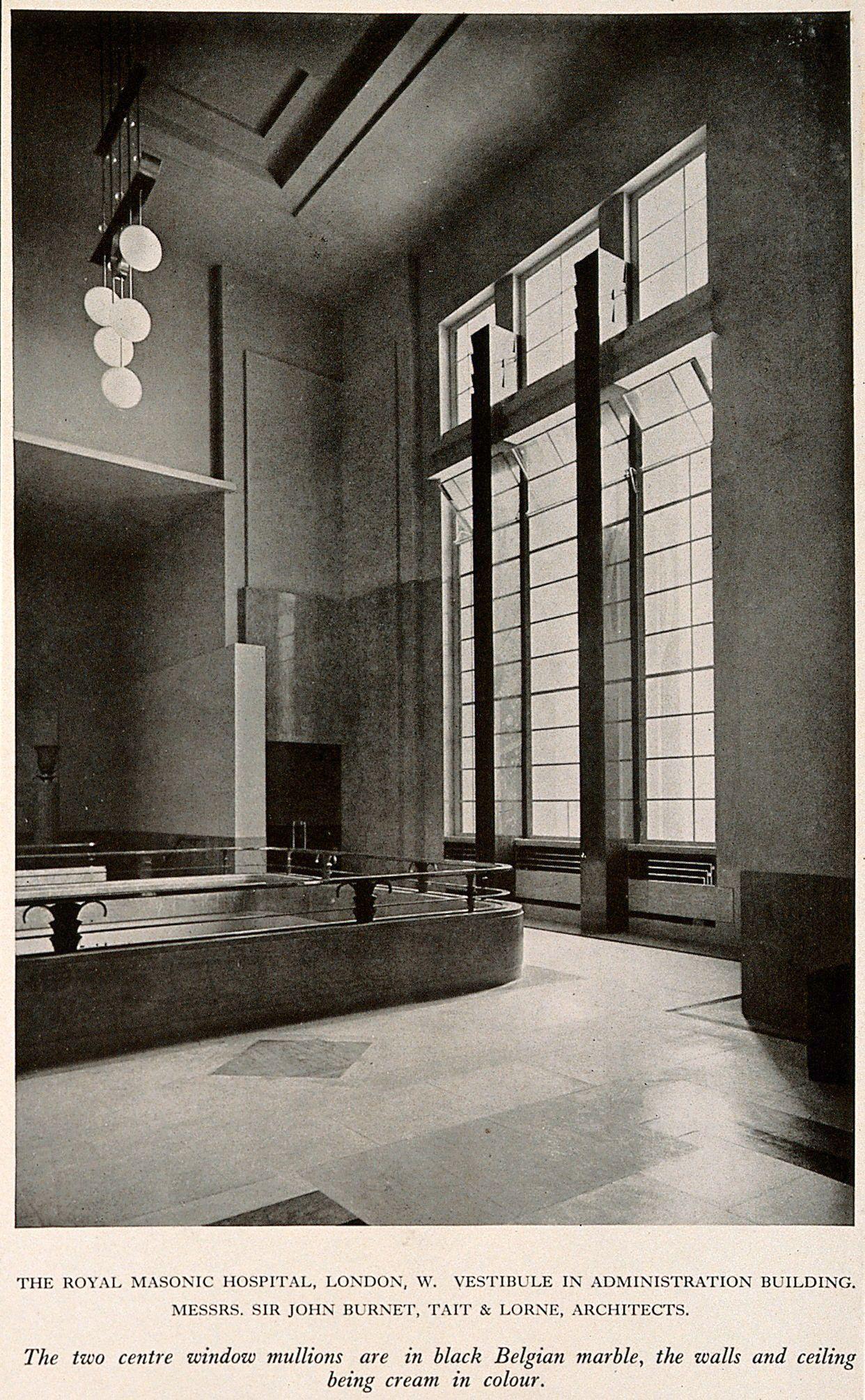 Royal Masonic Hospital, London: the main windows in the