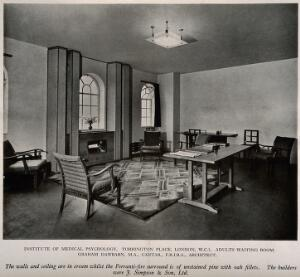 view Institute of Medical Psychology, London: the waiting room. Process print, 1929.