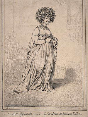 view A mulatto Caribbean woman wearing elaborate clothes and jewellry. Etching by J. Gillray after himself, 1796.
