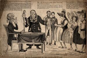 view Unmarried mothers being brought before a court hearing and judged severely. Woodcut.