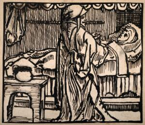 view A pregnant woman in bed another figure stands by the bed explaining something to her. Pen drawing after a woodcut by J. Berntsz, 1538.