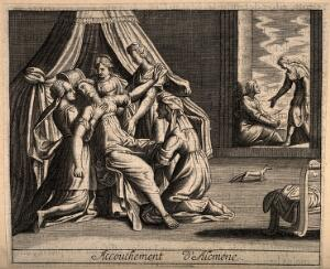 view Alcmene giving birth to Hercules: Juno, jealous of the child, attempts to delay the childbirth. Line engraving.