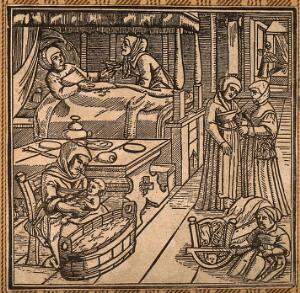 view A woman in bed recovering from childbirth, a midwife washes the baby while another attendant looks after the mother. Woodcut.
