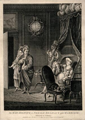 view A male-midwife suggestively examines an attractive pregnant woman, her disgruntled husband is led out of the room by a servant. Line engraving, 1773.