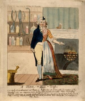 """view A """"man-midwife"""" (male obstetrician) represented by a figure divided in half, one half representing a man and the other a woman. Coloured etching by I. Cruikshank, 1793."""