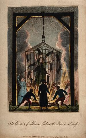 view Louisa Mabreé, a French midwife being executed in a cage full of cats above a fire. Coloured aquatint.