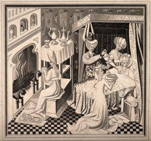 view The birth of Saint Edmund, he is being nursed by a midwife while his mother rests in bed and is aided by assistants, 1433. Aquatint by H. Shaw.