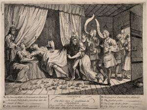 view Mary Toft (Tofts) appearing to give birth to rabbits in the