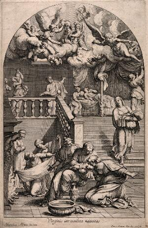 view A midwife gives the Virgin Mary her first bath, Joachim looks and exclaims to the heavens where angels are celebrating her birth. Engraving by P.S. Bartoli after F. Albani.