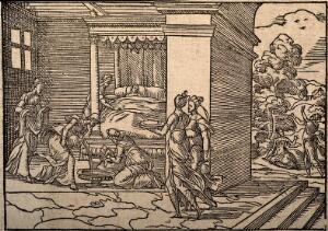 view A new-born baby about to receive its first bath. Wood engraving.