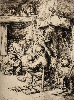 view A father feeding his infant whilst the mother attends to domestic jobs and a small child plays with its food. Pen drawing after A. van Ostade, 1648.
