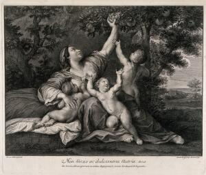 view A woman breast feeding a child and plucking a fruit from an abundant tree, two of her other children are also with her. Engraving by J. Frey, 1732, after F. Albani.