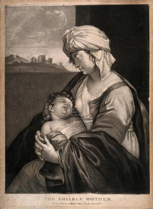 view A woman holding her sleeping baby after breast feeding it. Mezzotint.