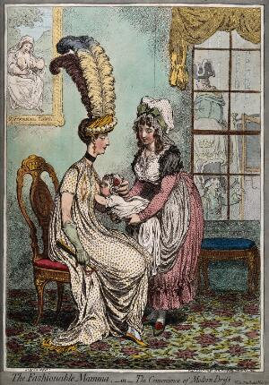 view A fashionable mother wearing a dress with slits across the breasts in order to feed her baby before she dashes off to the carriage waiting outside. Coloured etching by J. Gillray, 1796.