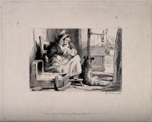 view A woman breast feeding her baby, with a dog sitting next to them in a rural setting. Etching by C. Lewis, 1848, after Sir E. Landseer, 1837.