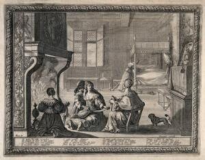 view A woman wrapping a baby in swaddling bandages after breast feeding it, several other women and a small child sit with her. Engraving by A. Bosse.