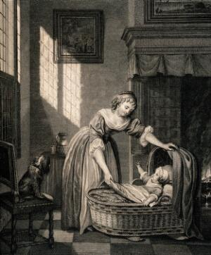 view A woman taking her baby from its cradle. Engraving.