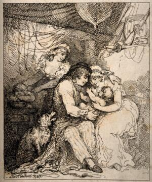 view A couple looking lovingly and playing with their baby in a happy domestic environment. Etching by T. Rowlandson, 1787.