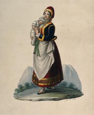 view A wet-nurse dressed in Neapolitan costume holding a baby. Watercolour by M. de Sate.