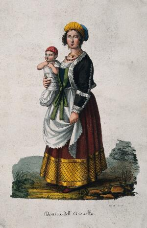 view A woman dressed in Neapolitan costume holding a baby. Coloured lithograph by A.C. Ledoux (?).