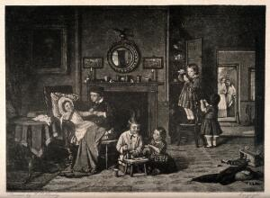 view A group of children playing at being doctors and pharmacists, mother and grandmother approach through a door. Photogravure after F. Hardy.