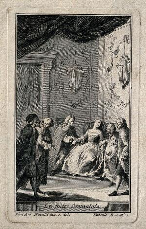 view A young woman feigns illness in a chair, two men take her pulse while a physician is consulted. Line engraving by A. Baratti after P. A. Novelli.