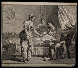 view A young woman takes the hand of a sick man, while an older woman listens. Line engraving by C. Grignion after P. Sandby.