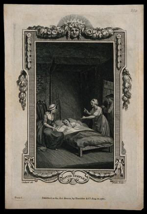view A sick man (Valentine) in bed with his hand held by his sister Camilla: the landlady demands the rent as David Simple enters the room. Line engraving by W. Blake, 1782, after T. Stothard.
