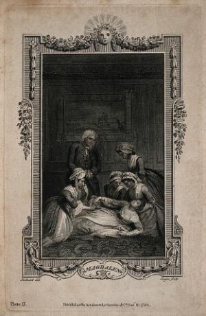 view A group of women gather around a fainted woman, while a concerned man looks on, with an ornate border. Line engraving by W. Angus, 1782, after T. Stothard.