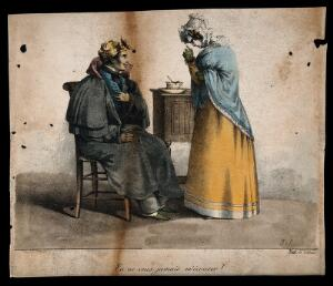 view A convalescing soldier being reprimanded by his nurse for not taking his medicine. Coloured lithograph by J.S. after?