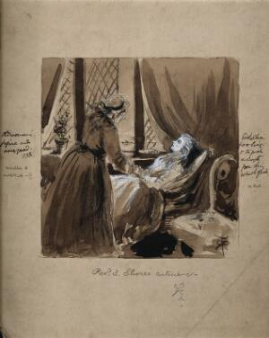 view An older woman tending to a sick young woman. Watercolour by R.T. Pritchett.