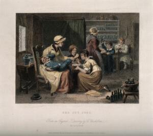 view A boy cries in pain in his mother's arms while she tries to wash his cut foot, another child holds a broken glass in the background. Coloured line engraving by E. Smith after C. Chisholme.