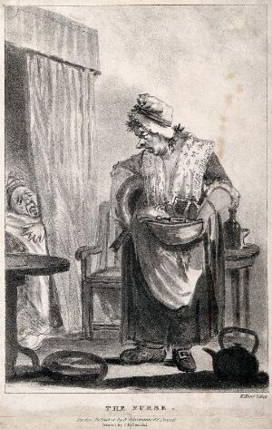view A dishevelled nurse with her disgruntled patient. Lithograph by W. Hunt.