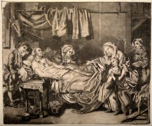 view An old couple lie in their sick bed receiving alms from a girl with the encouragement of her mother and a nun. Pen and ink drawing after J.B. Greuze.